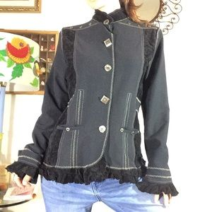 Icelandic design Artsy Black ruffle blazer Jacket